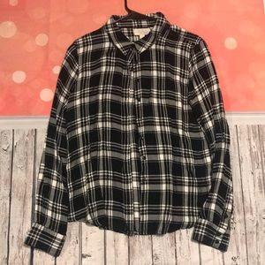 Olive and oak black and white flannel Large